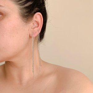 Jewelry - Dianty Silver Long Rhinestone Chain Drop Earrings